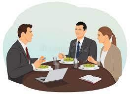 Déjeuner d'affaires illustration de vecteur. Illustration du partenariat -  54630611